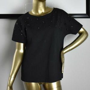 J CREW Black Embellished Beaded Blouse Size Small